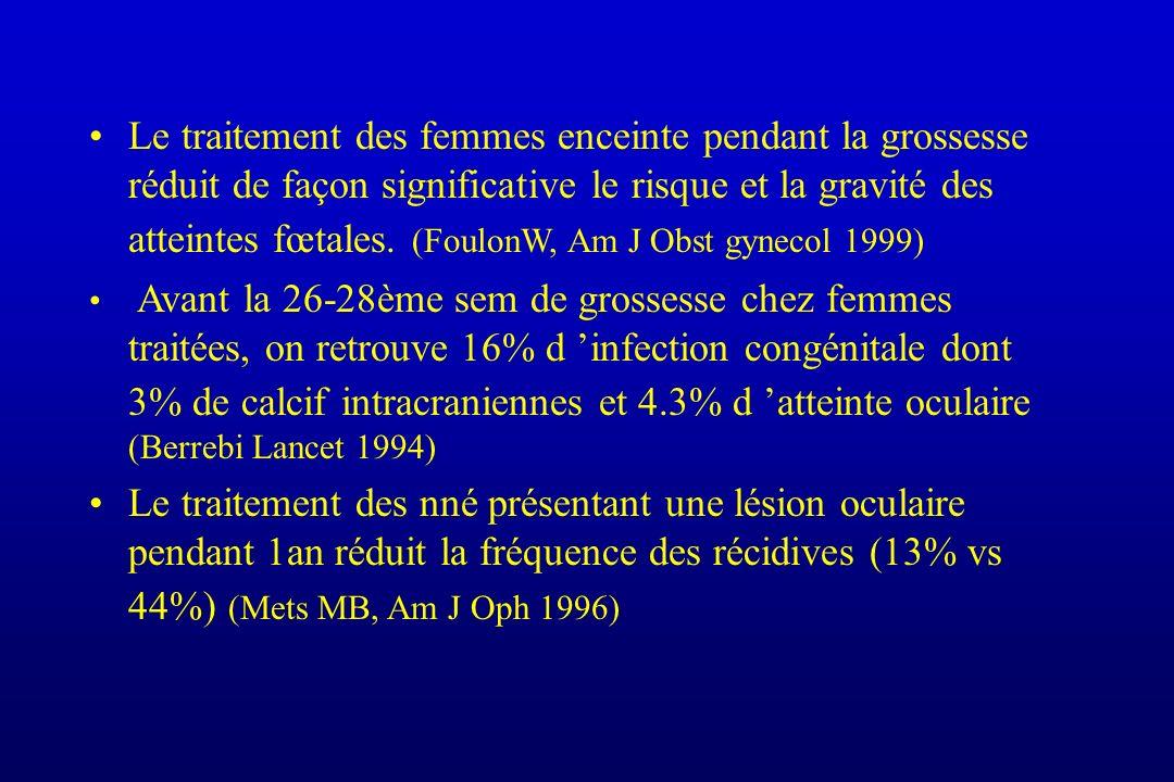 Le traitement des femmes enceinte pendant la grossesse réduit de façon significative le risque et la gravité des atteintes fœtales. (FoulonW, Am J Obs