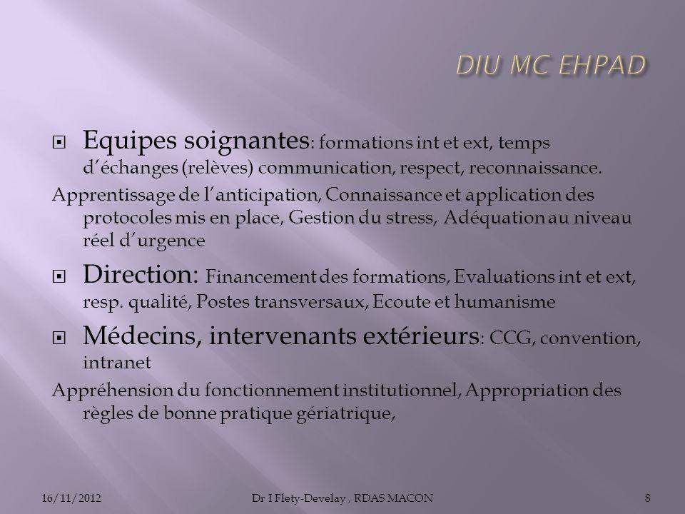 Equipes soignantes : formations int et ext, temps déchanges (relèves) communication, respect, reconnaissance.