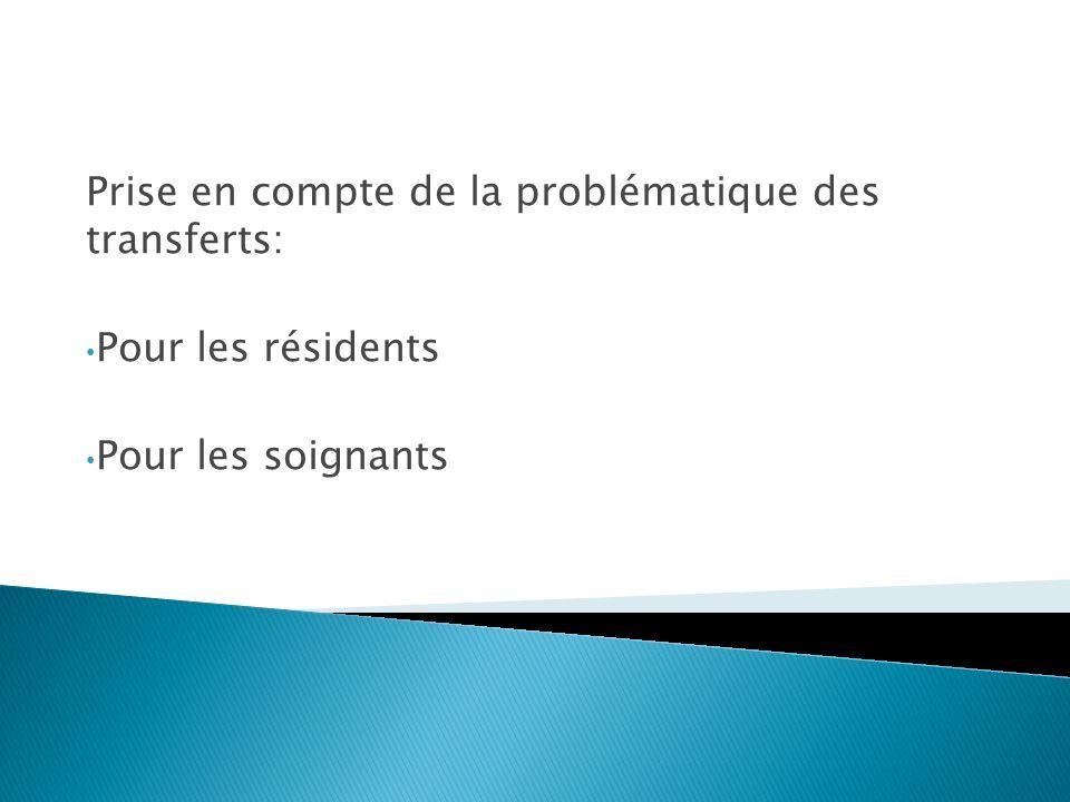 Prise en compte de la problématique des transferts: Pour les résidents Pour les soignants