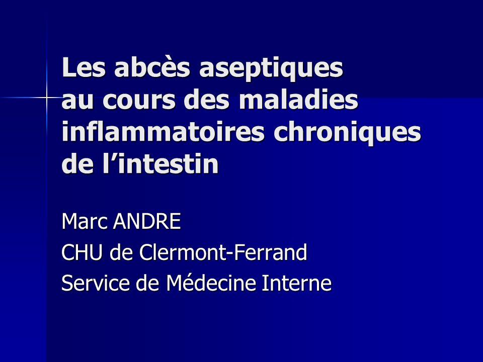 Les abcès aseptiques au cours des maladies inflammatoires chroniques de lintestin Marc ANDRE CHU de Clermont-Ferrand Service de Médecine Interne