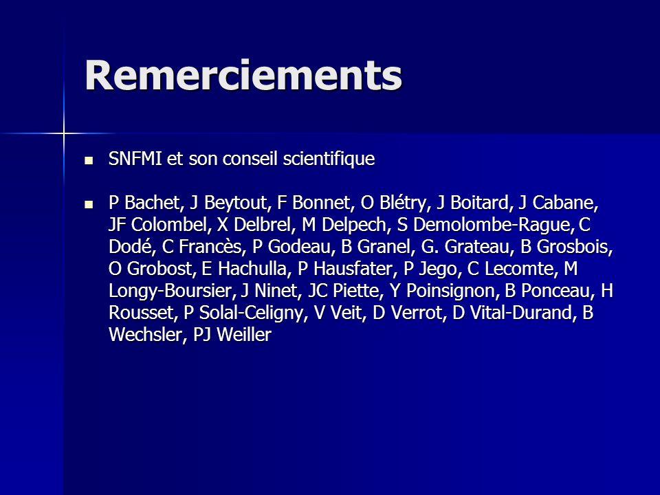 Remerciements SNFMI et son conseil scientifique SNFMI et son conseil scientifique P Bachet, J Beytout, F Bonnet, O Blétry, J Boitard, J Cabane, JF Col