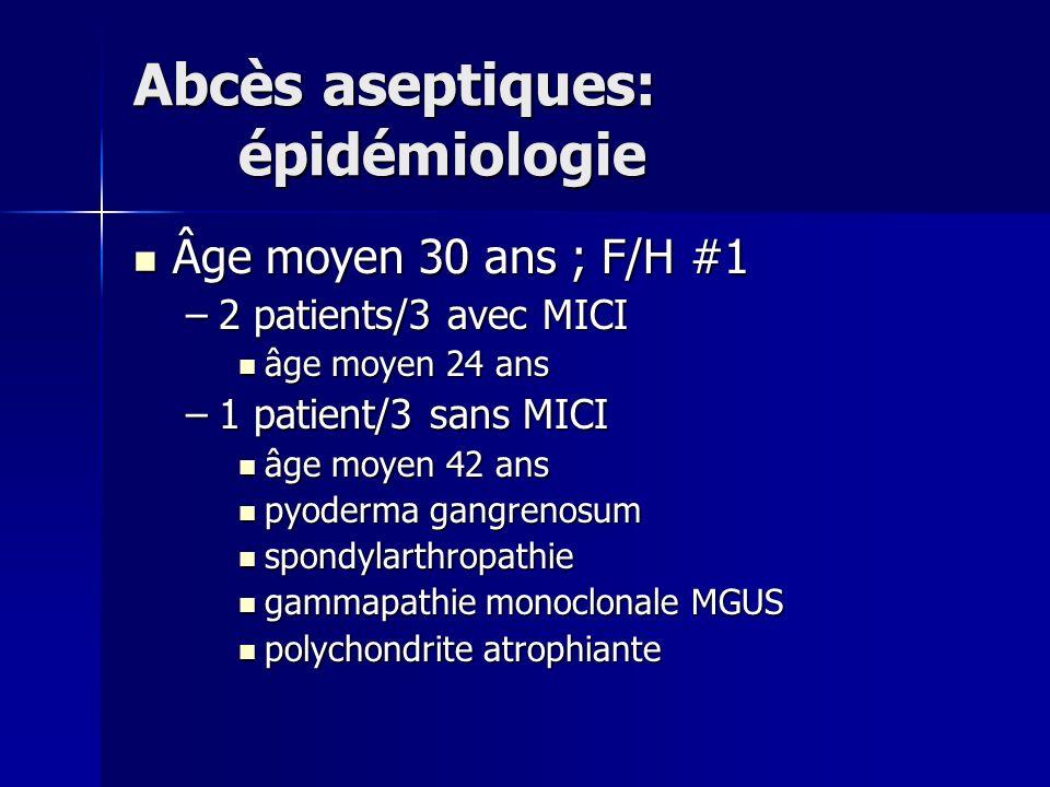 Abcès aseptiques: épidémiologie Âge moyen 30 ans ; F/H #1 Âge moyen 30 ans ; F/H #1 –2 patients/3 avec MICI âge moyen 24 ans âge moyen 24 ans –1 patie