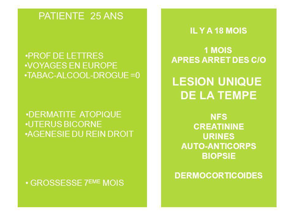 PATIENTE 25 ANS PROF DE LETTRES VOYAGES EN EUROPE TABAC-ALCOOL-DROGUE =0 DERMATITE ATOPIQUE UTERUS BICORNE AGENESIE DU REIN DROIT GROSSESSE 7 EME MOIS