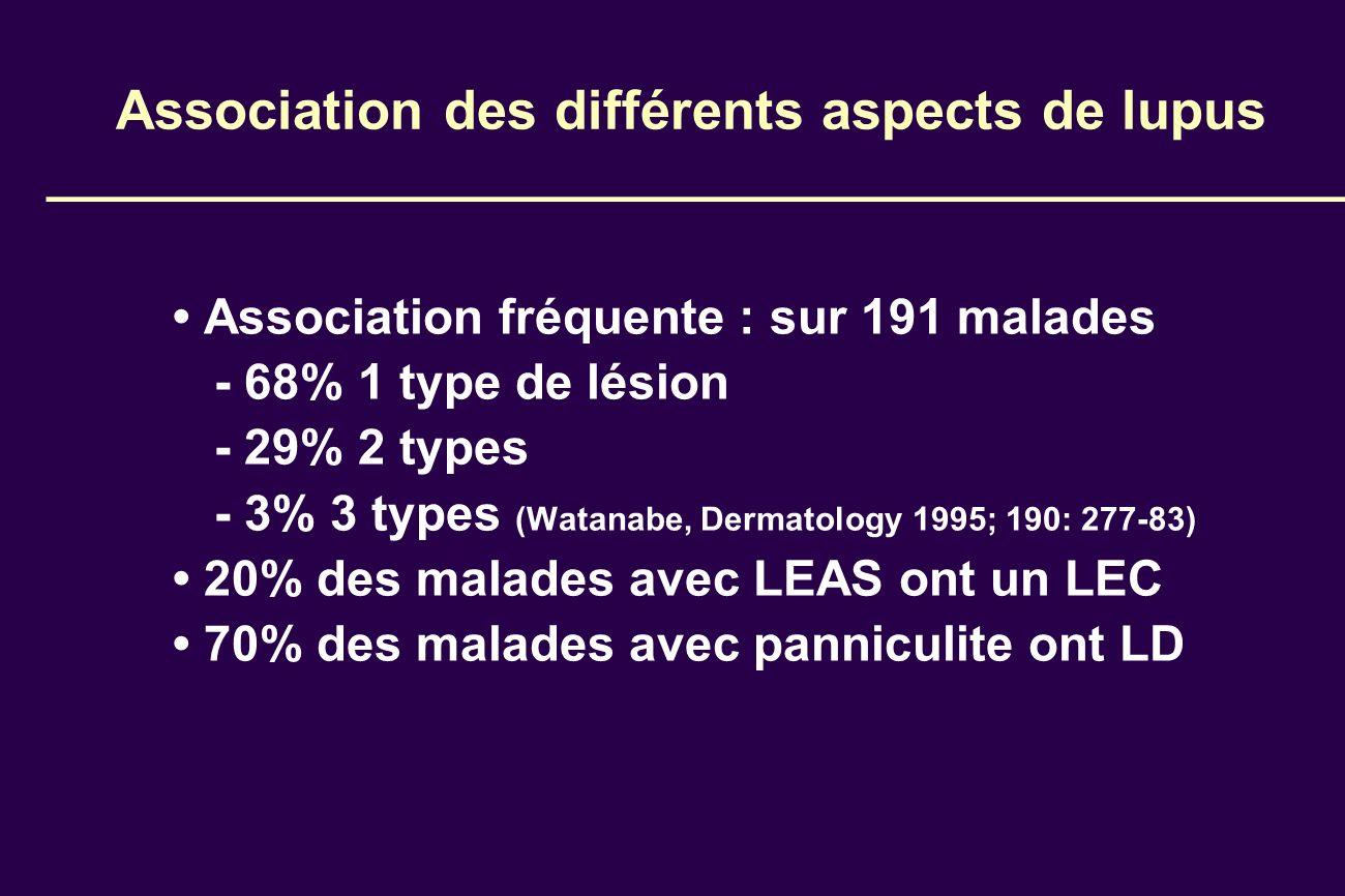 Association des différents aspects de lupus Association fréquente : sur 191 malades - 68% 1 type de lésion - 29% 2 types - 3% 3 types (Watanabe, Derma