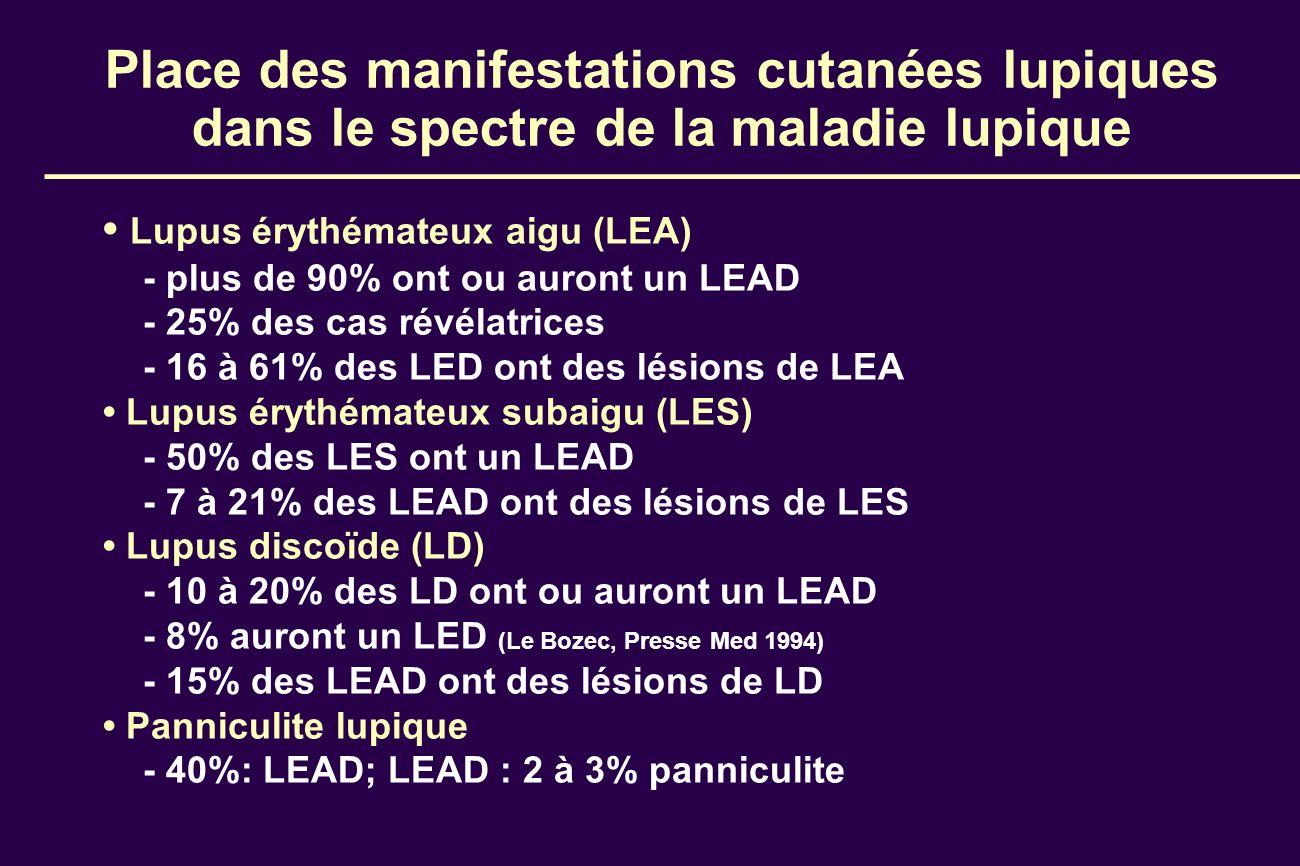 Place des manifestations cutanées lupiques dans le spectre de la maladie lupique Lupus érythémateux aigu (LEA) - plus de 90% ont ou auront un LEAD - 2