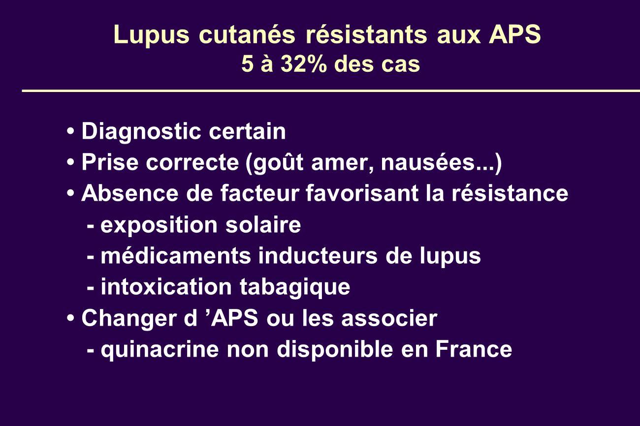 Lupus cutanés résistants aux APS 5 à 32% des cas Diagnostic certain Prise correcte (goût amer, nausées...) Absence de facteur favorisant la résistance