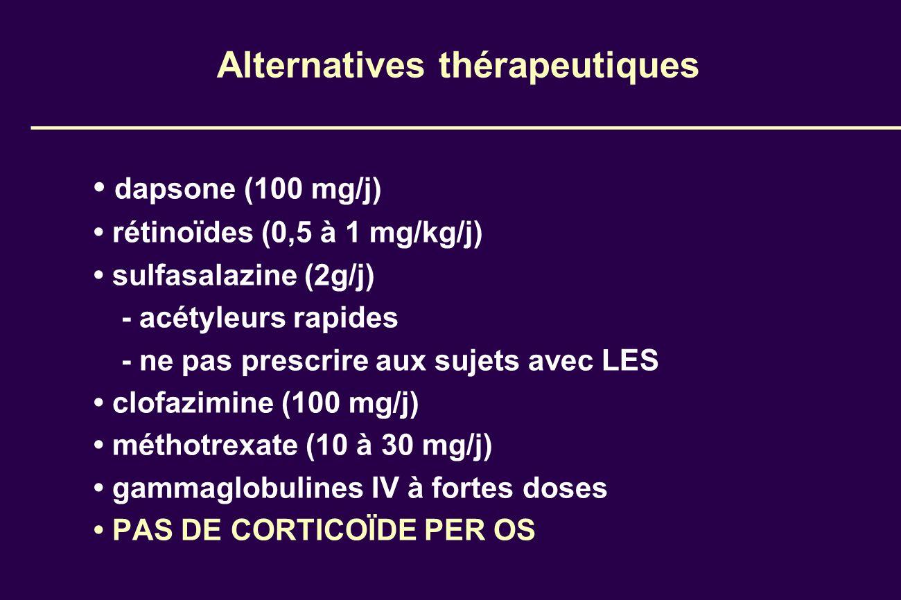 Alternatives thérapeutiques dapsone (100 mg/j) rétinoïdes (0,5 à 1 mg/kg/j) sulfasalazine (2g/j) - acétyleurs rapides - ne pas prescrire aux sujets av