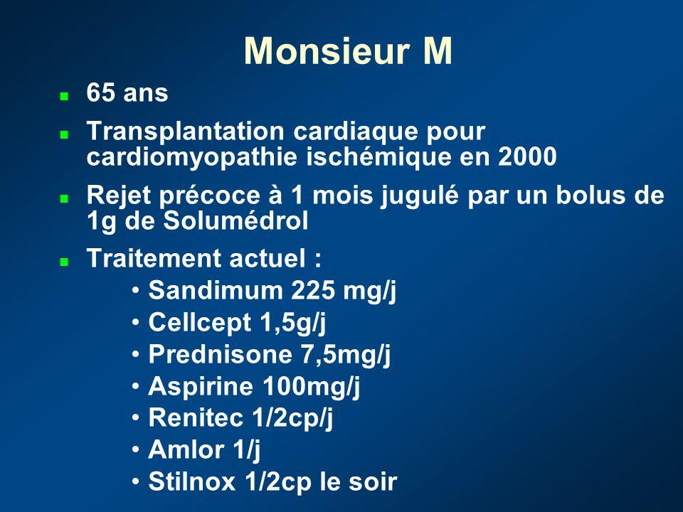 Monsieur M 65 ans Transplantation cardiaque pour cardiomyopathie ischémique en 2000 Rejet précoce à 1 mois jugulé par un bolus de 1g de Solumédrol Traitement actuel : Sandimum 225 mg/j Cellcept 1,5g/j Prednisone 7,5mg/j Aspirine 100mg/j Renitec 1/2cp/j Amlor 1/j Stilnox 1/2cp le soir