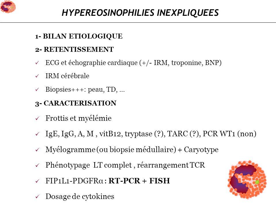 1- BILAN ETIOLOGIQUE 2- RETENTISSEMENT ECG et échographie cardiaque (+/- IRM, troponine, BNP) IRM cérébrale Biopsies+++: peau, TD, … 3- CARACTERISATIO