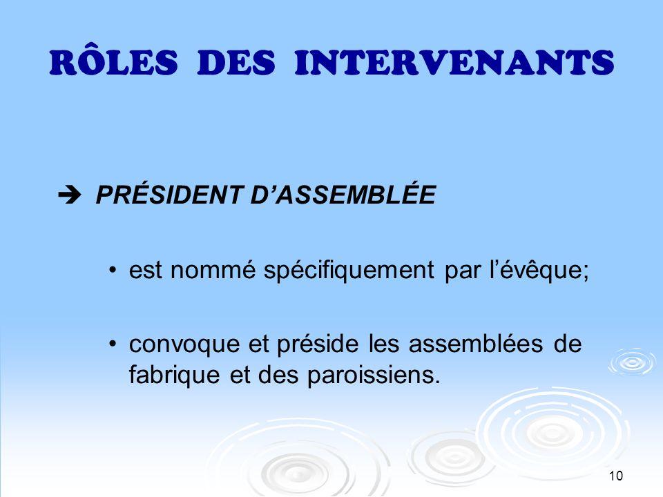 11 RÔLES DES INTERVENANTS VICE-PRÉSIDENT DASSEMBLÉE est un marguillier; est nommé spécifiquement par lévêque;