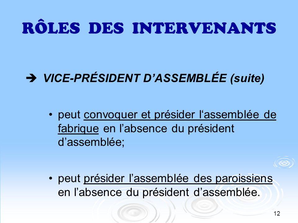 12 RÔLES DES INTERVENANTS VICE-PRÉSIDENT DASSEMBLÉE (suite) peut convoquer et présider lassemblée de fabrique en labsence du président dassemblée; peu