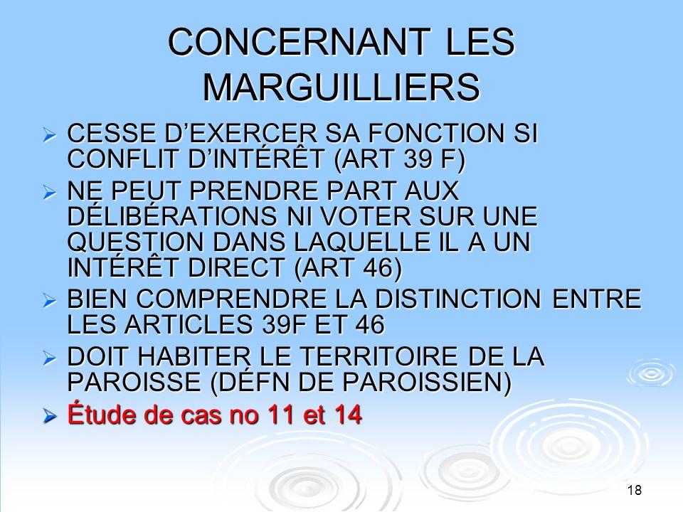 18 CONCERNANT LES MARGUILLIERS CESSE DEXERCER SA FONCTION SI CONFLIT DINTÉRÊT (ART 39 F) CESSE DEXERCER SA FONCTION SI CONFLIT DINTÉRÊT (ART 39 F) NE