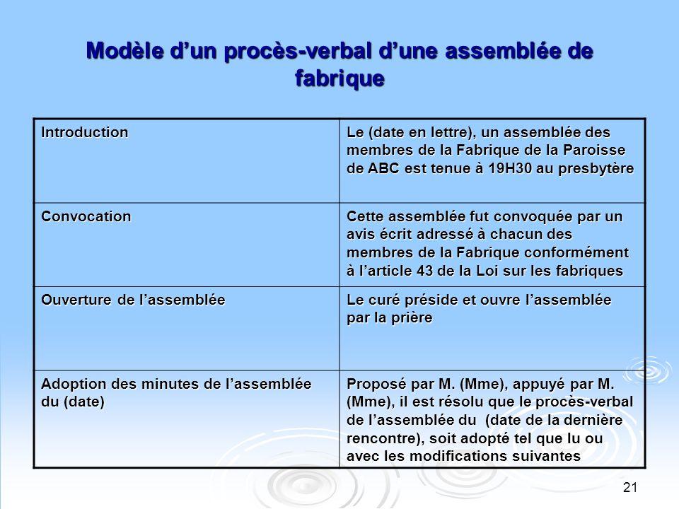 21 Modèle dun procès-verbal dune assemblée de fabrique Introduction Le (date en lettre), un assemblée des membres de la Fabrique de la Paroisse de ABC