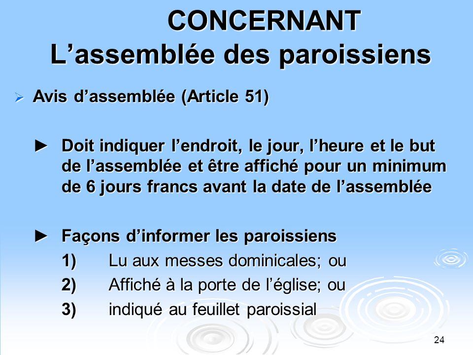 24 CONCERNANT Lassemblée des paroissiens Avis dassemblée (Article 51) Avis dassemblée (Article 51) Doit indiquer lendroit, le jour, lheure et le but d