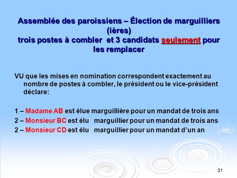 32 Assemblée des paroissiens – Élection de marguilliers (ières) Deux postes à combler: deux marguilliers sortants et 4 candidats pour les remplacer VU que le nombre des mises en nomination dépassent le nombre de postes à combler, le président ou le vice- président appelle le vote.
