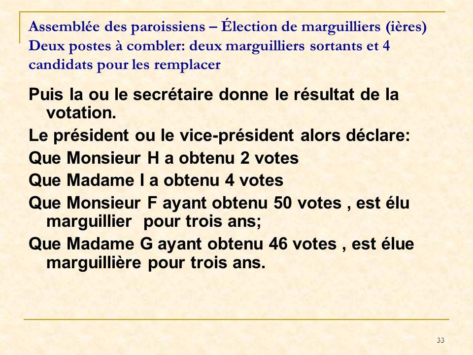 33 Assemblée des paroissiens – Élection de marguilliers (ières) Deux postes à combler: deux marguilliers sortants et 4 candidats pour les remplacer Pu