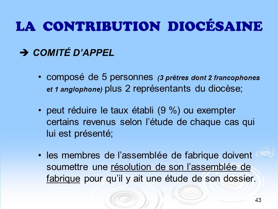 43 LA CONTRIBUTION DIOCÉSAINE COMITÉ DAPPEL composé de 5 personnes (3 prêtres dont 2 francophones et 1 anglophone) plus 2 représentants du diocèse; pe