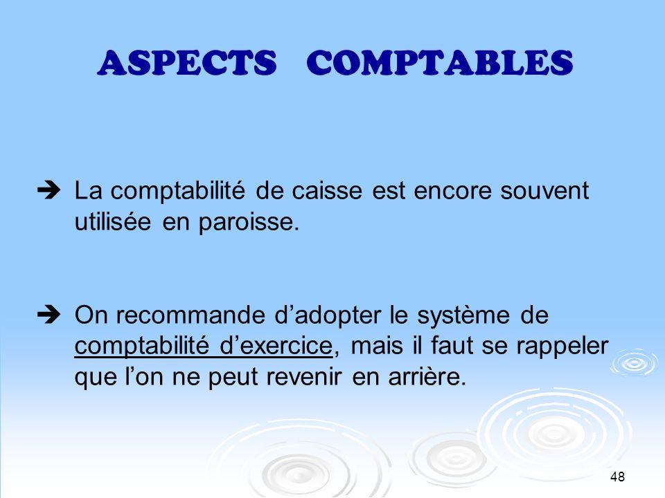 48 ASPECTS COMPTABLES La comptabilité de caisse est encore souvent utilisée en paroisse. On recommande dadopter le système de comptabilité dexercice,