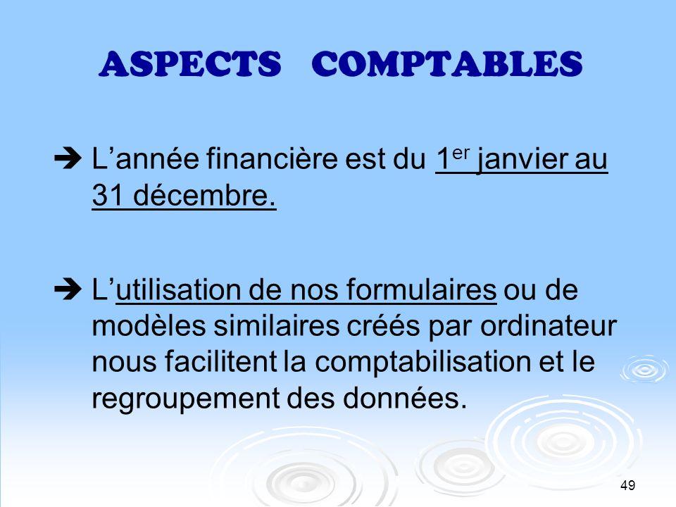 49 ASPECTS COMPTABLES Lannée financière est du 1 er janvier au 31 décembre. Lutilisation de nos formulaires ou de modèles similaires créés par ordinat
