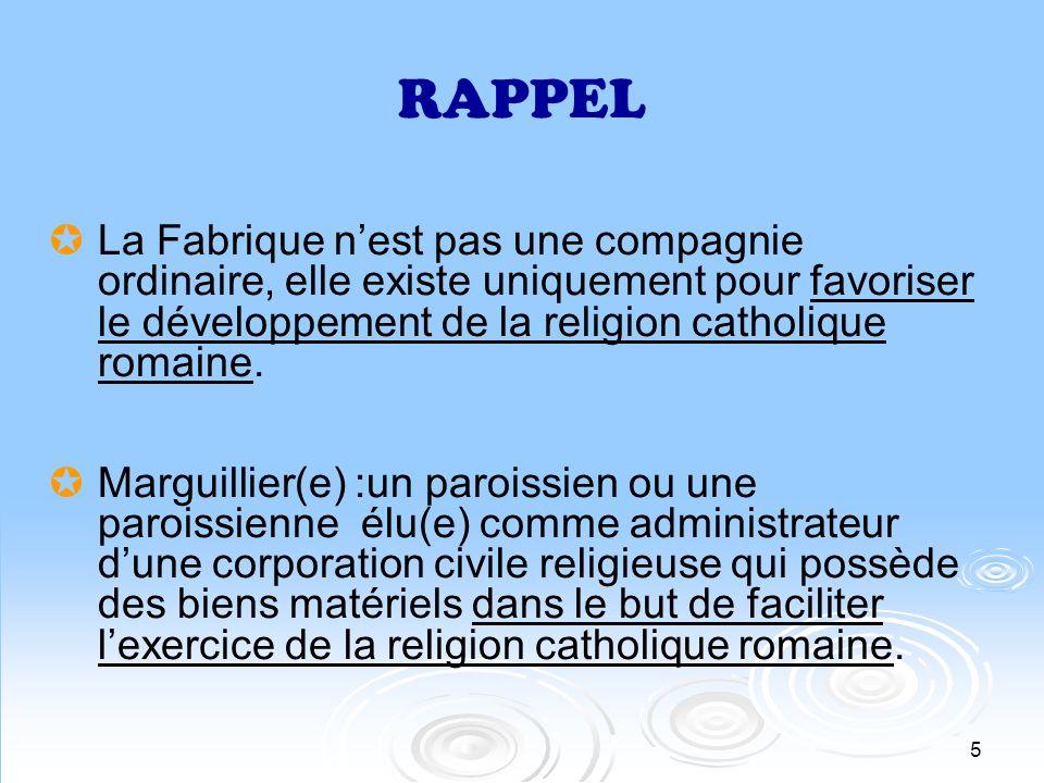 6 RÈGLEMENTS Loi sur les fabriques (art.
