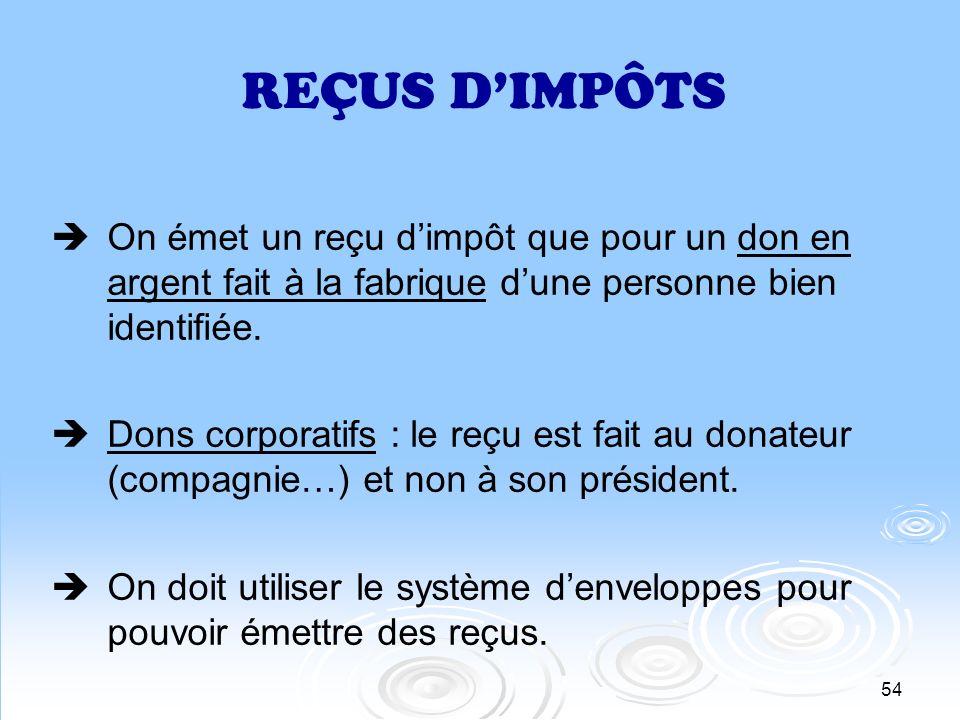 55 REÇUS DIMPÔTS Pas de reçu dimpôt à un bénévole ou un marguillier pour compenser les efforts ou le travail accompli.