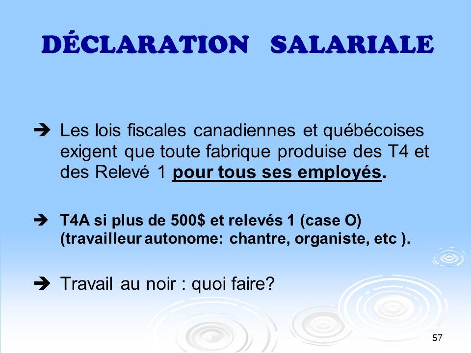 57 DÉCLARATION SALARIALE Les lois fiscales canadiennes et québécoises exigent que toute fabrique produise des T4 et des Relevé 1 pour tous ses employé