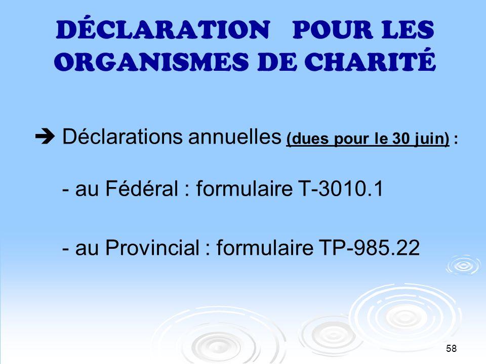 58 DÉCLARATION POUR LES ORGANISMES DE CHARITÉ Déclarations annuelles (dues pour le 30 juin) : - au Fédéral : formulaire T-3010.1 - au Provincial : for