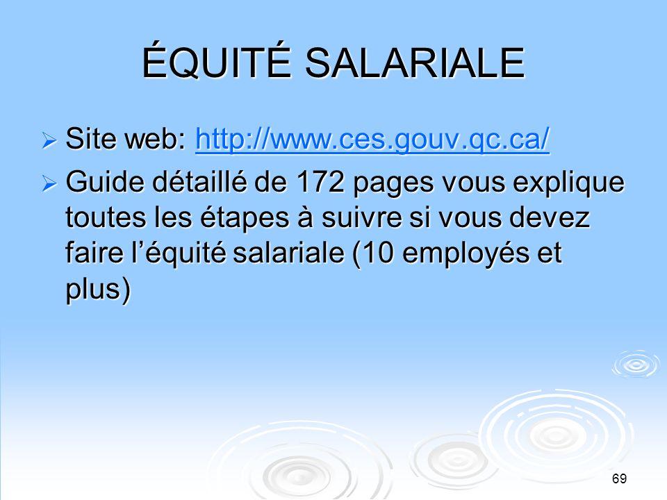 69 ÉQUITÉ SALARIALE Site web: http://www.ces.gouv.qc.ca/ Site web: http://www.ces.gouv.qc.ca/http://www.ces.gouv.qc.ca/ Guide détaillé de 172 pages vo