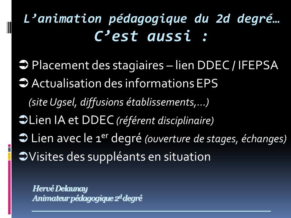 Hervé Delaunay Animateur pédagogique 2 d degré Hervé Delaunay Animateur pédagogique 2 d degré ___________________________________________________________ Placement des stagiaires – lien DDEC / IFEPSA Actualisation des informations EPS (site Ugsel, diffusions établissements,…) Lien IA et DDEC (référent disciplinaire) Lien avec le 1 er degré (ouverture de stages, échanges) Visites des suppléants en situation Lanimation pédagogique du 2d degré… Cest aussi :
