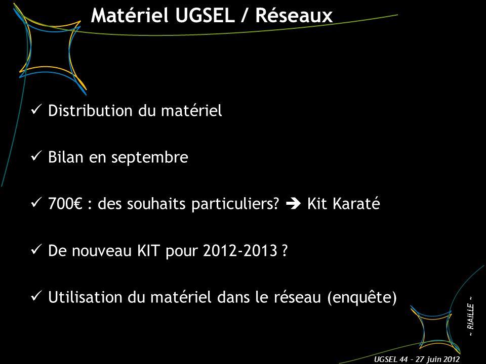 Matériel UGSEL / Réseaux Distribution du matériel Bilan en septembre 700 : des souhaits particuliers? Kit Karaté De nouveau KIT pour 2012-2013 ? Utili