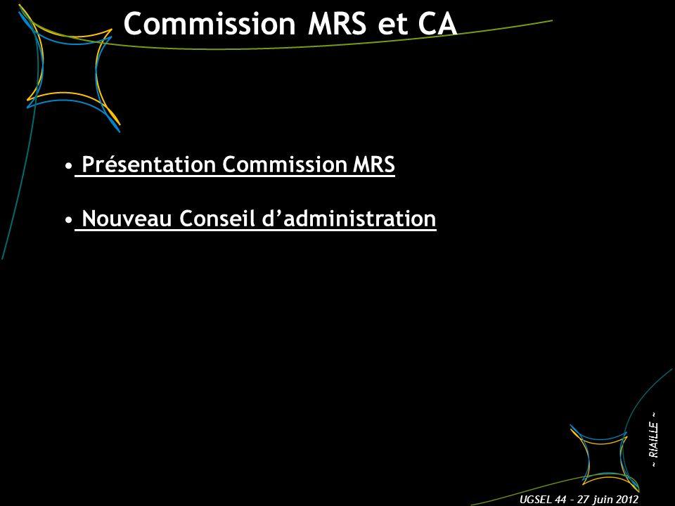 Commission MRS et CA 3 ~ RIAILLE ~ UGSEL 44 – 27 juin 2012 Présentation Commission MRS Nouveau Conseil dadministration