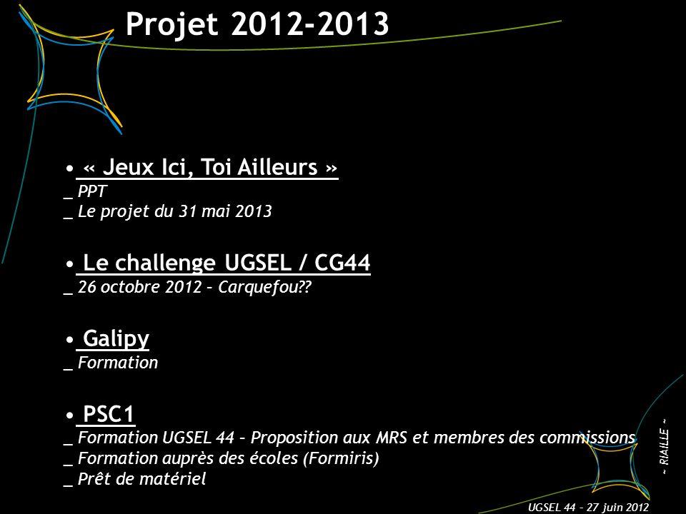 Projet 2012-2013 3 ~ RIAILLE ~ UGSEL 44 – 27 juin 2012 « Jeux Ici, Toi Ailleurs » _ PPT _ Le projet du 31 mai 2013 Le challenge UGSEL / CG44 _ 26 octobre 2012 – Carquefou .