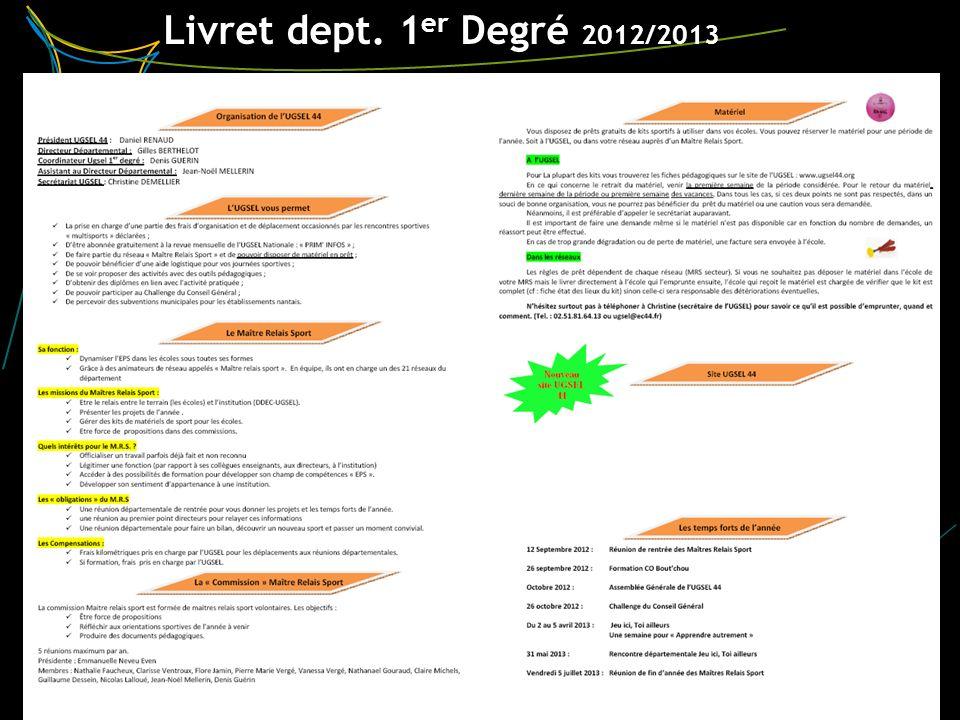 Livret dept. 1 er Degré 2012/2013 3 ~ RIAILLE ~ UGSEL 44 – 27 juin 2012
