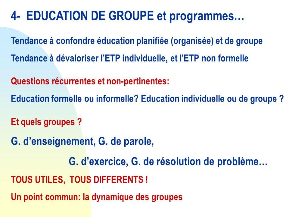 4- EDUCATION DE GROUPE et programmes… Tendance à confondre éducation planifiée (organisée) et de groupe Tendance à dévaloriser lETP individuelle, et l