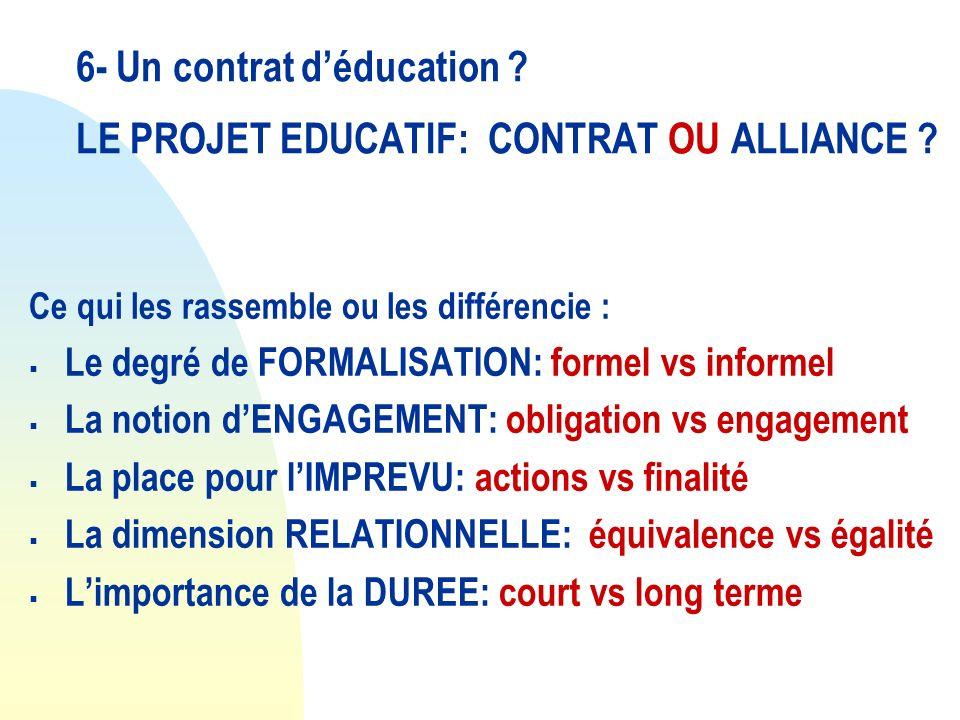 6- Un contrat déducation ? LE PROJET EDUCATIF: CONTRAT OU ALLIANCE ? Ce qui les rassemble ou les différencie : Le degré de FORMALISATION: formel vs in