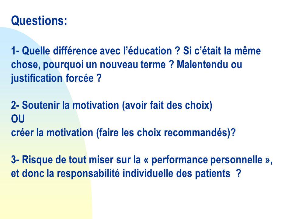Questions: 1- Quelle différence avec léducation ? Si cétait la même chose, pourquoi un nouveau terme ? Malentendu ou justification forcée ? 2- Souteni