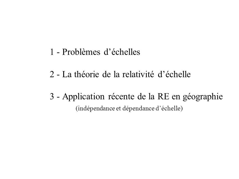 1 - Problèmes déchelles 2 - La théorie de la relativité déchelle 3 - Application récente de la RE en géographie (indépendance et dépendance déchelle)