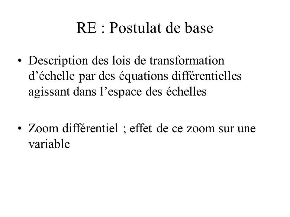 RE : Postulat de base Description des lois de transformation déchelle par des équations différentielles agissant dans lespace des échelles Zoom différentiel ; effet de ce zoom sur une variable