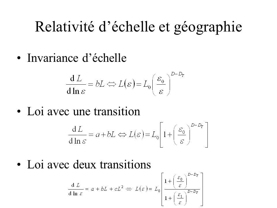 Relativité déchelle et géographie Invariance déchelle Loi avec une transition Loi avec deux transitions