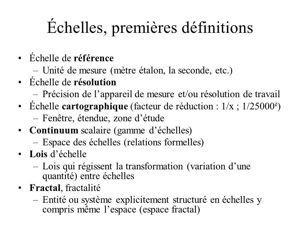 Échelles, premières définitions Échelle de référence –Unité de mesure (mètre étalon, la seconde, etc.) Échelle de résolution –Précision de lappareil de mesure et/ou résolution de travail Échelle cartographique (facteur de réduction : 1/x ; 1/25000 è ) –Fenêtre, étendue, zone détude Continuum scalaire (gamme déchelles) –Espace des échelles (relations formelles) Lois déchelle –Lois qui régissent la transformation (variation dune quantité) entre échelles Fractal, fractalité –Entité ou système explicitement structuré en échelles y compris même lespace (espace fractal)