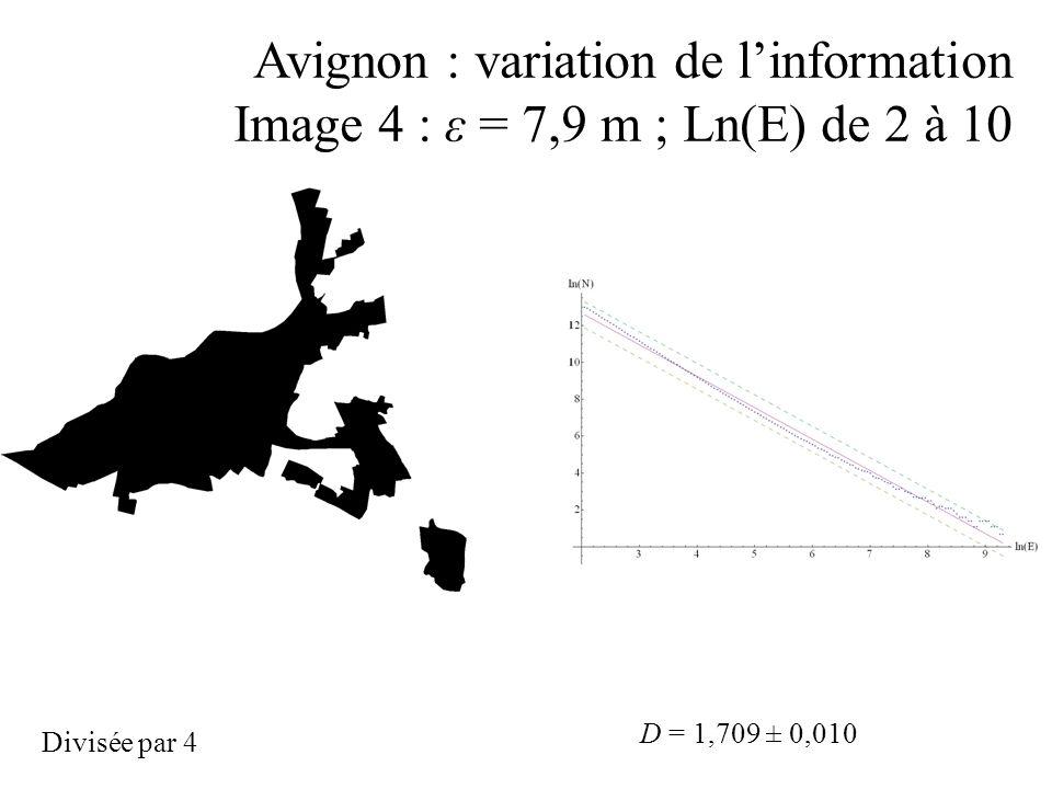 Avignon : variation de linformation Image 4 : ε = 7,9 m ; Ln(E) de 2 à 10 D = 1,709 ± 0,010 Divisée par 4
