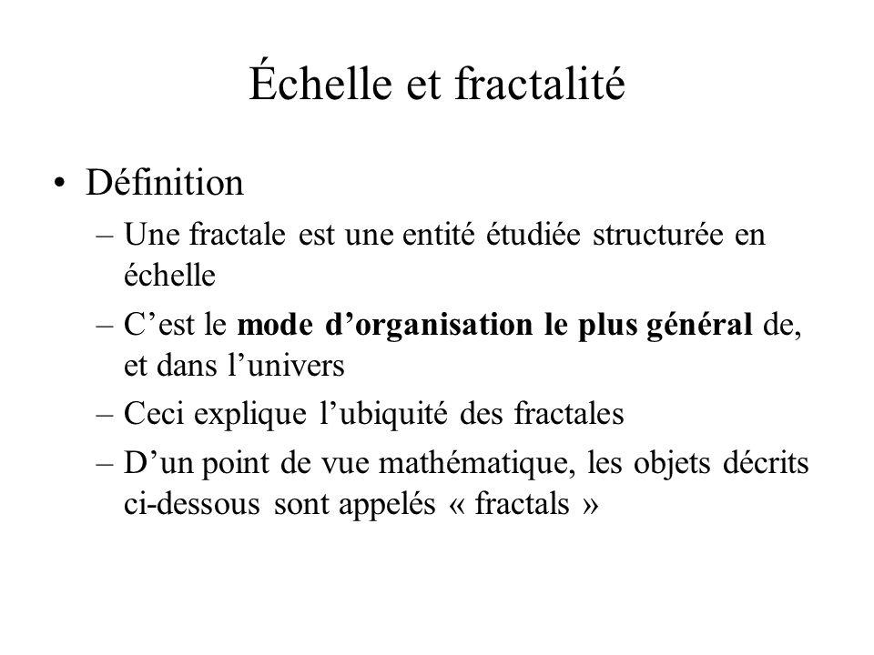 Échelle et fractalité Définition –Une fractale est une entité étudiée structurée en échelle –Cest le mode dorganisation le plus général de, et dans lunivers –Ceci explique lubiquité des fractales –Dun point de vue mathématique, les objets décrits ci-dessous sont appelés « fractals »