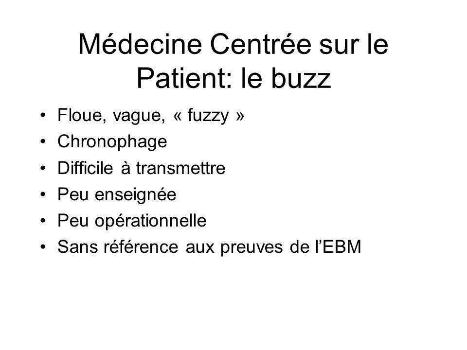 Médecine Centrée sur le Patient: le buzz Floue, vague, « fuzzy » Chronophage Difficile à transmettre Peu enseignée Peu opérationnelle Sans référence aux preuves de lEBM
