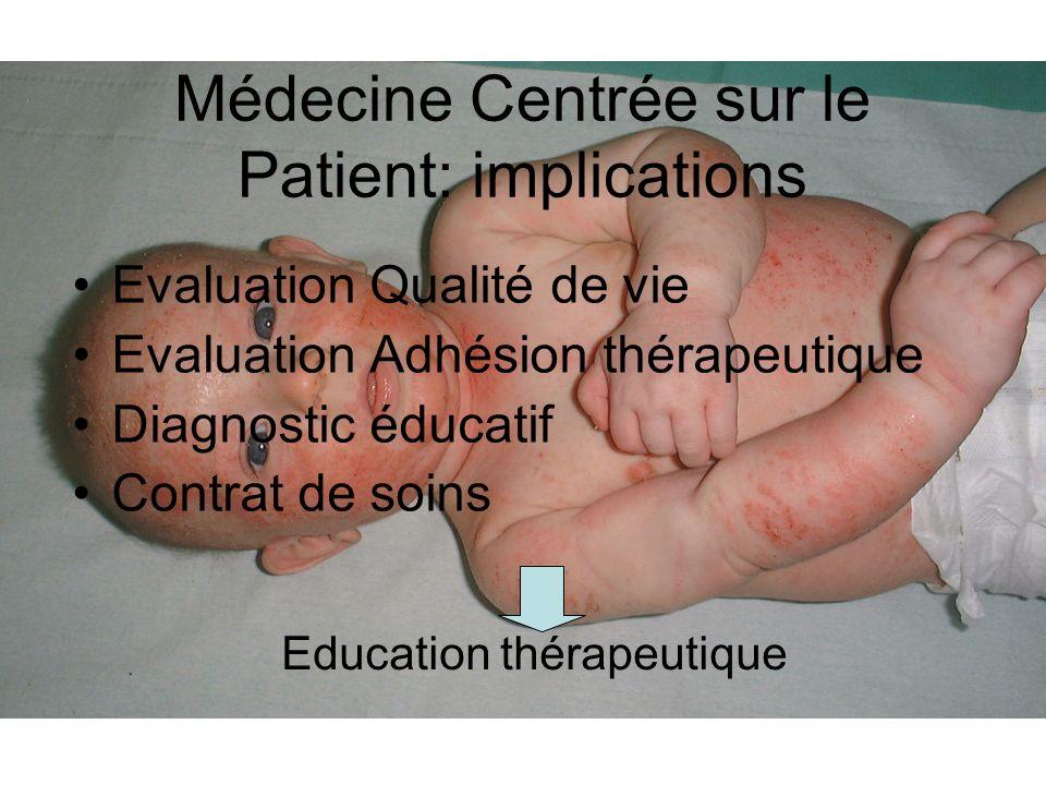Médecine Centrée sur le Patient: implications Evaluation Qualité de vie Evaluation Adhésion thérapeutique Diagnostic éducatif Contrat de soins Educati