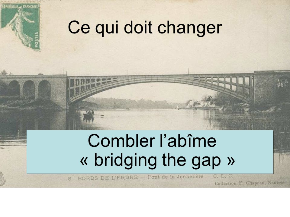 Ce qui doit changer Combler labîme « bridging the gap »