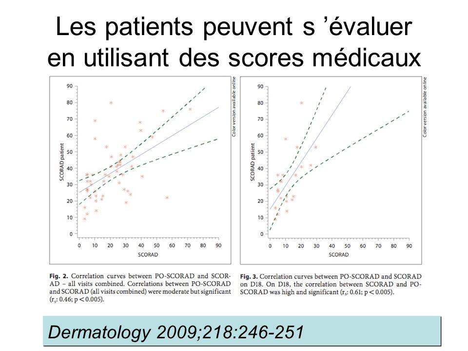 Les patients peuvent s évaluer en utilisant des scores médicaux Dermatology 2009;218:246-251