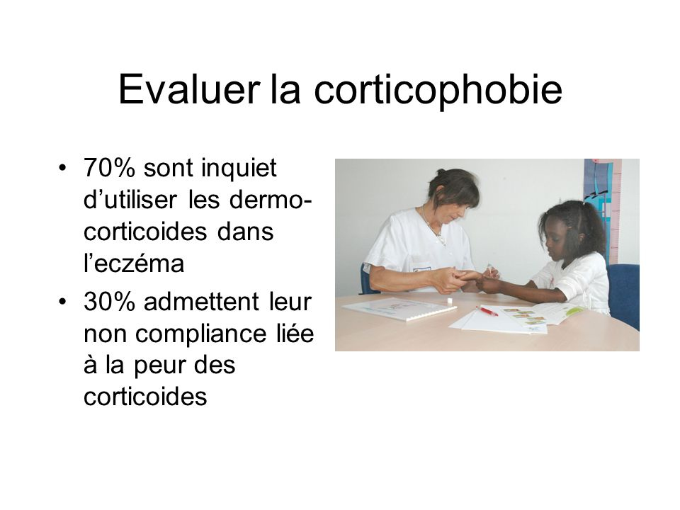 Evaluer la corticophobie 70% sont inquiet dutiliser les dermo- corticoides dans leczéma 30% admettent leur non compliance liée à la peur des corticoid