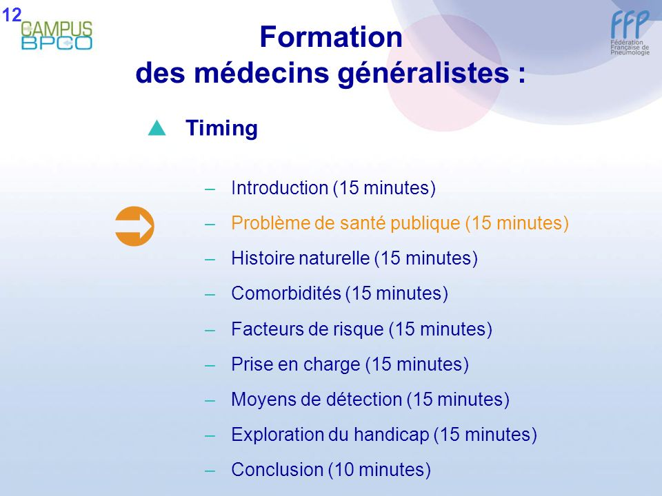 Formation des médecins généralistes : 12 Timing –Introduction (15 minutes) –Problème de santé publique (15 minutes) –Histoire naturelle (15 minutes) –