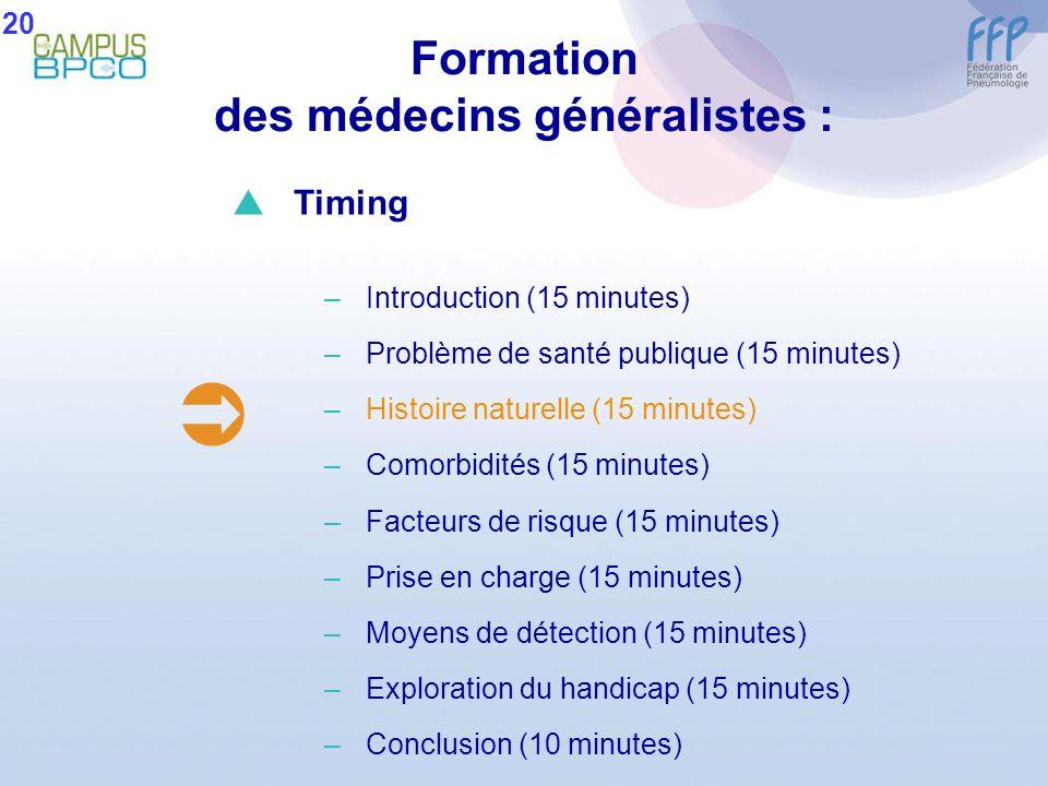 Formation des médecins généralistes : 20 Timing –Introduction (15 minutes) –Problème de santé publique (15 minutes) –Histoire naturelle (15 minutes) –