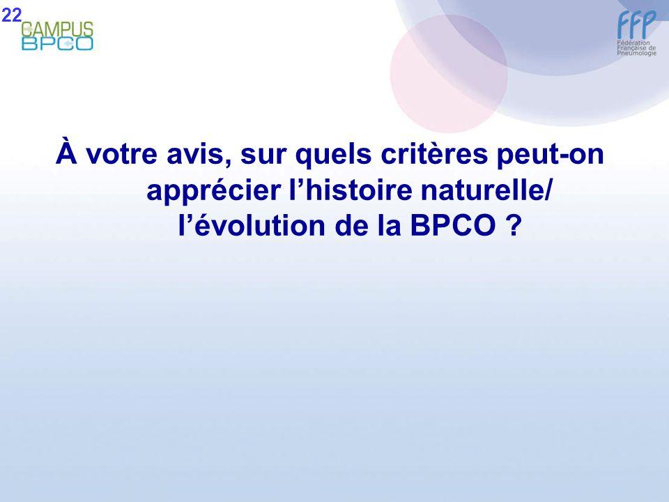 À votre avis, sur quels critères peut-on apprécier lhistoire naturelle/ lévolution de la BPCO ? 22